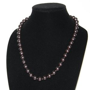 Dark brown vintage pearl necklace 23""